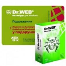 Dr.Web Антивирус на 12 месяцев, на 1ПК (продление лицензии, скретч-карта) + Dr.Web для Windows Mobile